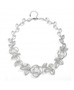 Designer Wedding Necklace with Cubic Zirconia and Pearl Flowers