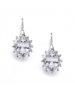 Vintage Oval Solitaire Cubic Zirconia Earrings with Lever Backs