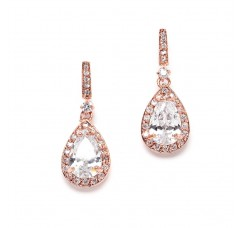 Rose Gold and Cubic Zirconia Bridal Earrings with Framed Pear Drops