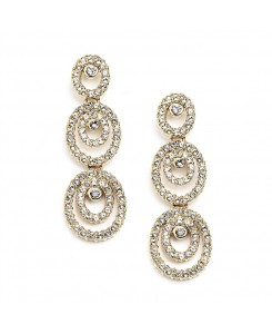 Concentric Ovals Gold Wedding or Prom Earrings with Cubic Zirconia