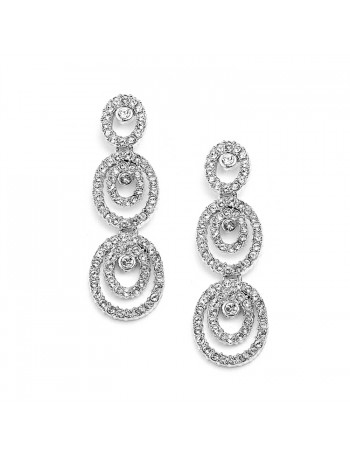 Concentric Ovals Wedding or Prom Dangle Earrings with Cubic Zirconia