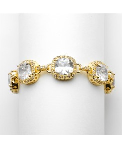 Magnificent Gold Petite Length Cushion Cut CZ Bridal or Pageant Bracelet