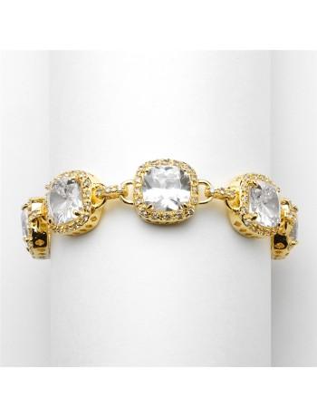Magnificent Gold Petite Length Cushion Cut CZ Bridal or Pageant Bracelet
