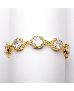 Magnificent Cushion Cut Cubic Zirconia Gold Bridal or Pageant Bracelet