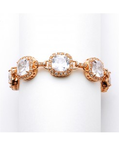 Magnificent Rose Gold Petite Length Cushion Cut CZ Bridal or Pageant Bracelet