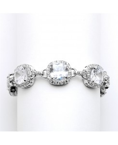 Magnificent Petite Length Cushion Cut CZ Bridal or Pageant Bracelet