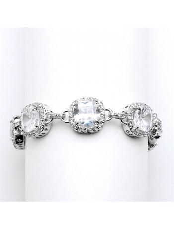 Magnificent Petite Length Cushion Cut CZ Bridal or Pageant Bracelet