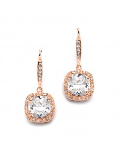 Magnificent Cushion Cut CZ Bridal or Pageant Earrings in Rose Gold