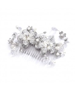 Fabulous Wedding or Brides Hair Comb with Pearl and Crystal Sprays
