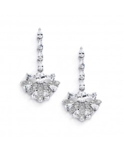 "Art Deco ""Fan"" Design Cubic Zirconia Wedding Earrings"