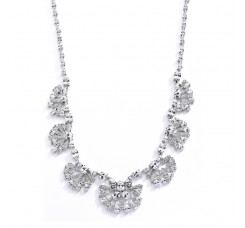"Art Deco ""Fan"" Design Cubic Zirconia Wedding Necklace"