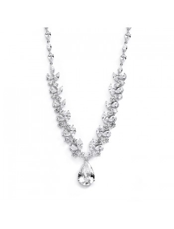 Breathtaking Cubic Zirconia Red Carpet Drop Wedding Necklace
