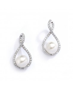 Eternity Symbol  Cubic Zirconia Wedding Earrings with Pearl