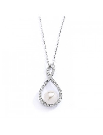 Eternity Symbol  Cubic Zirconia Wedding Necklace with Pearl