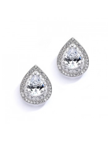 Designer Micro Pave Cubic Zirconia Bridal or Mother of the Bride Earrings
