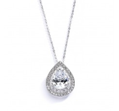 Designer Micro Pave Cubic Zirconia Bridal or Mother of the Bride Pendant