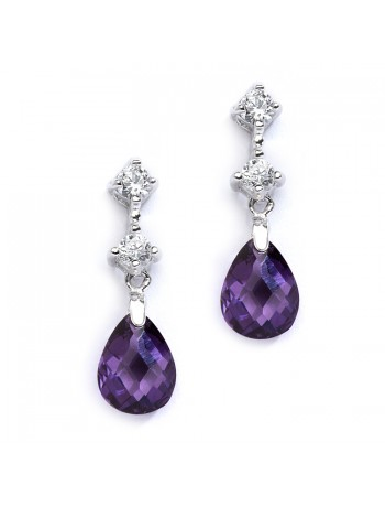 CZ Bridal or Bridesmaids Earrings with Amethyst Crystal Drops