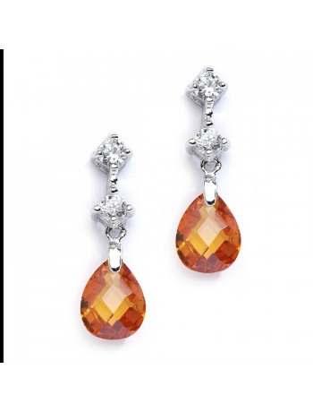 CZ Bridal or Bridesmaids Earrings with Champagne Crystal Drops