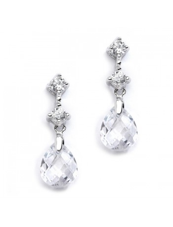 CZ Bridal or Bridesmaids Earrings with Clear Crystal Drops
