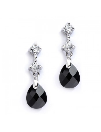CZ Bridal or Bridesmaids Earrings with Jet Black Crystal Drops