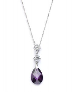 CZ Bridal or Bridesmaids Necklace Pendant with Amethyst Crystal Drop
