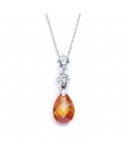 CZ Bridal or Bridesmaids Necklace Pendant with Champagne Crystal Drop