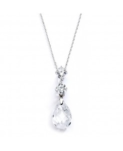 CZ Bridal or Bridesmaids Necklace Pendant with Austrian Crystal Drop
