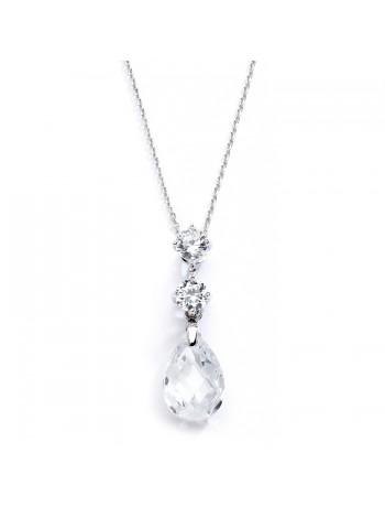 CZ Bridal or Bridesmaids Necklace Pendant with Austrian Crystal Drop
