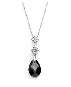 CZ Bridal or Bridesmaids Necklace Pendant with Jet Black Crystal Drop