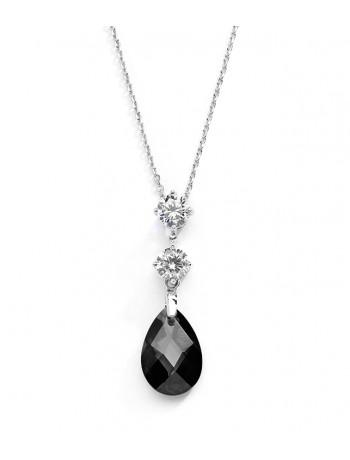 CZ Bridal or Bridesmaids Necklace Pendant with Jet Black Crystal Drop