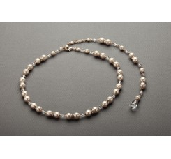Alluring Gold Wedding Back Necklace with Ivory Pearls & Crystal Drop
