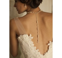 Alluring Wedding Back Necklace with Pearls & Crystals