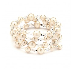 Adjustable Coil Ivory Pearl Wedding Bracelet