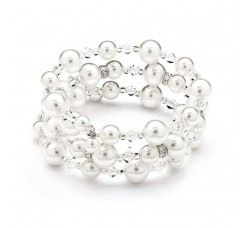 Adjustable Coil White Pearl Wedding Bracelet