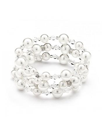 Adjustable Coil White Pearl Wedding Bracelet