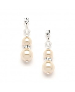 Double Ivory Pearl Dangle Earrings with Rondels & Stud Top