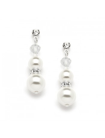 Double White Pearl Dangle Earrings with Rondels & Stud Top