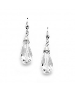 Euro Wire with Crystal Teardrop Bridal, Prom  or Bridesmaids Earrings