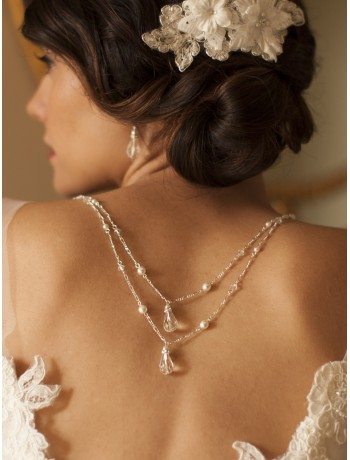 Draped Figaro Chain Teardrop Bridal or Prom Back Necklace