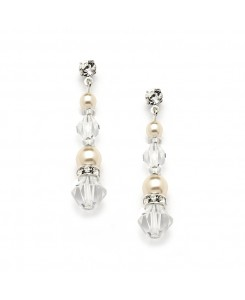Pearl & Crystal Dangle Earrings for Weddings, Bridesmaids or Prom