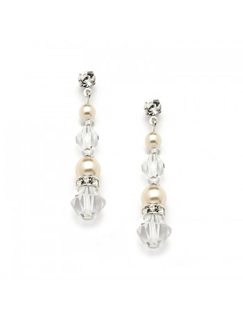 Pearl & Crystal Dangle Earrings for Weddings, Bridesmaids or Prom