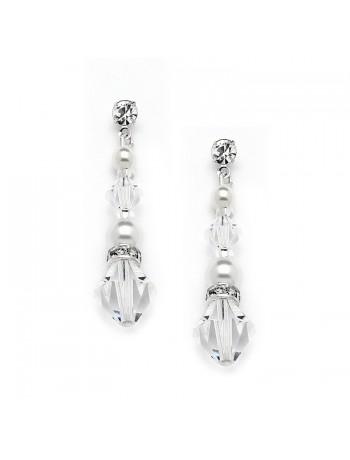 Crystal & Pearl Dangle Earrings for Weddings, Bridesmaids or Prom