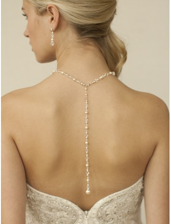Top Selling Crystal & Pearl Back Necklace for Weddings & Proms