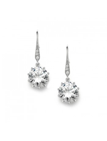 Bridal, Prom or Bridesmaids Bling CZ Drop Earrings