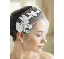 White Tulle Bandeau Wedding Veil with Beaded Lace Applique