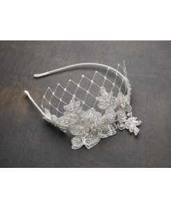 Luxurious Crystal Embellished Lace Wedding Headband with Wide Netting