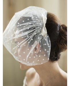 Retro 1950's Polka Dot Face Veil with Hand Made Satin Bow