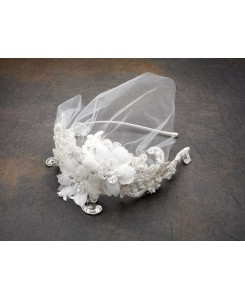 Handmade Wedding Headband with Ivory European Lace Applique & Petite Veil