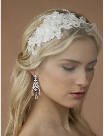 Handmade Wedding Headband with White European Lace Applique & Petite Veil