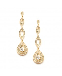 Gold Micro pave Cubic Zirconia Teardrop Wedding Earrings